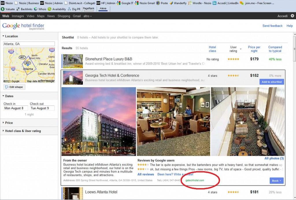 Google hotelfinder detail